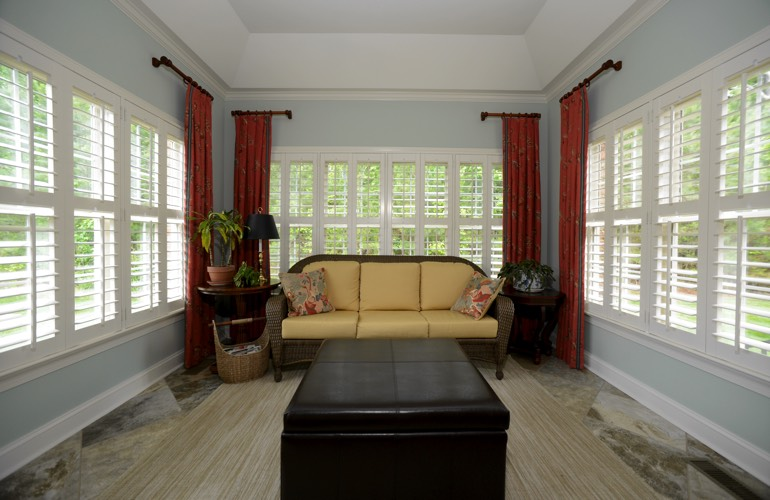 Plantation Shutters In A San Diego Sunroom